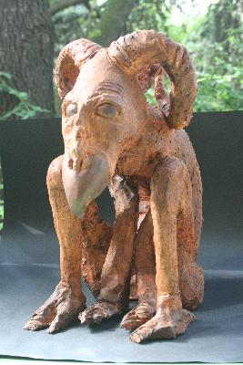 La-bete-a-cornes med, une sculpture by Jean-Christophe Patat